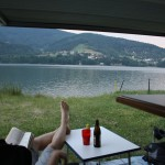 The view of the Miedzybrodzie Lake from our van