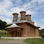 The Sfanta Treime monastery - built entirely from wood, apart from the shiny metal roof.