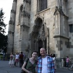 Bianca and Jay in front of the Cathedral in Cluj - the only photo we have of Cluj at all