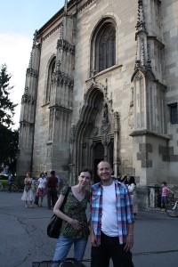 Bianca and Jay in front of the Cathedral in Cluj