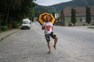 Jay dancing in the rain
