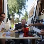 Camper van breakfast.