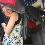 Drying clothes in our van.