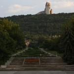 """View from the centre up to the 52m high """"1300 years of Bulgarian History"""" monument."""