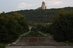 "View from the centre up to the 52m high ""1300 years of Bulgarian History"" monument."