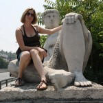 Iva and her friend on one of the bridges in Plovdiv