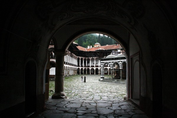 Entrance to the Rila monastery at 7 p.m.