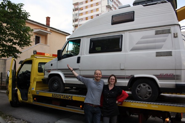 Camper Van vs Tow Truck